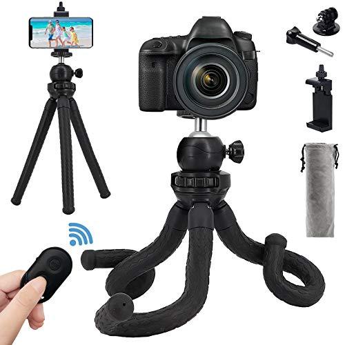 Mini-Handy-Stativ, verstellbar, flexibel, für Kamera, Reise, Stativ, Halterung mit kabelloser Fernbedienung für iPhone, Android, Universal-Clip, 360 ° drehbar, Kamera-Ständer für GoPro kleine Kamera