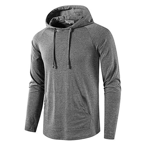 SIR7 Men's Gym Workout Active Long Sleeve Pullover Lightweight Hoodie Casual Hooded Sweatshirts(Grey Large)
