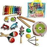 DealMux Xilófono para niños pequeños Xilófono de madera para niños Glockenspiel Juego de instrumentos musicales para bebés Baby Glockenspiel Xilófono de madera para bebés Instrumentos musicales para