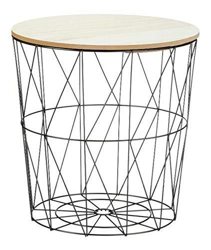 Beistelltisch Tisch mit Stauraum Couchtisch Korb Metall Holz Aufbewahrungskorb Wohnzimmertisch (Korb schwarz & Deckel Hellbraun, Groß: Ø 38 x Höhe 39 cm)