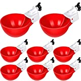 8 Pieces Chicken Waterers Chicken Water Cups Automatic Chicken Waterer Poultry Drinking Bowl 1/8 Inch Thread Watering Feeder Cups for Chickens Ducks Geese Turkeys and More (Red)