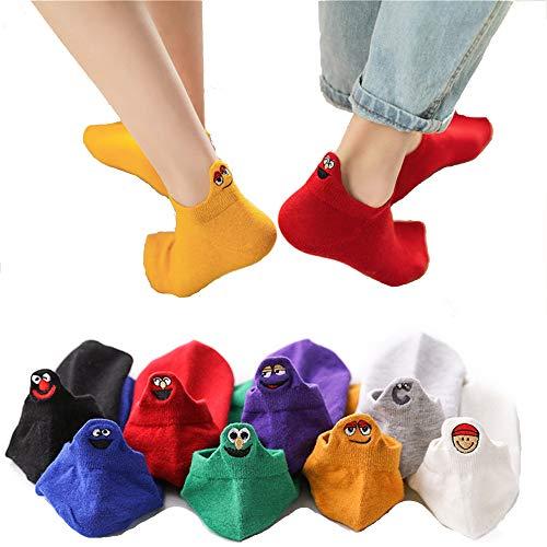Modern Home AT 3-er Pack Damen lustige happy Socken atmungsaktive bequeme süße Premium Baumwolle Sommer Frühling 2020 (Weiss)