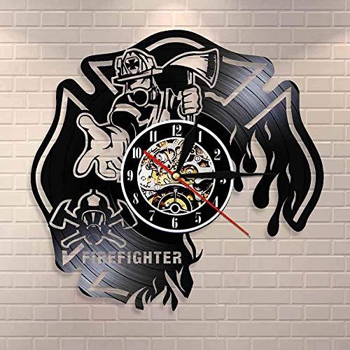 ZZLLL Reloj de Bombero Decoración de Pared de Bomberos Reloj de Pared Casco de Bombero Registro de Rescate de Incendios Reloj de Pared Reloj de Cruz de Malta quemada