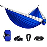 Kamileo Double Camping Hammock, Lightweight Nylon Portable Hammock with Sleep Mask and Tree Straps, for Camping Backpacking Outdoor Beach Yard (Blue)