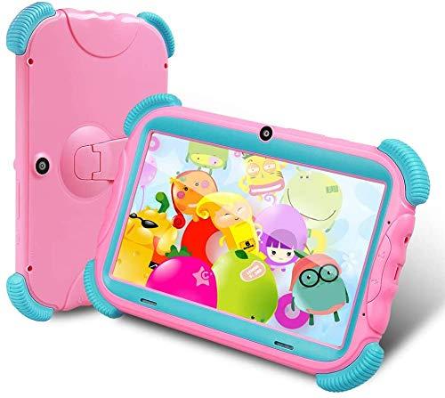 7 Zoll Kids Tablet ANTEMPER Android 9.0,Kindertablet Quad Core,Lerntablet für Kids,16GB Erweiterbar Auf 128GB,2GB RAM,WiFi/Bluetooth,Kindersicherung,HD IPS-Touchscreen,G-Sensor,Kindgerechte Hülle,Rosa