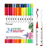 24 Colors Calligraphy Brush Marker Pens, Dual Tip Colored Art Marker, Writing Pens, Fineliner Felt Tip Water Color Drawing Paintbrush Highlighters Coloring Books