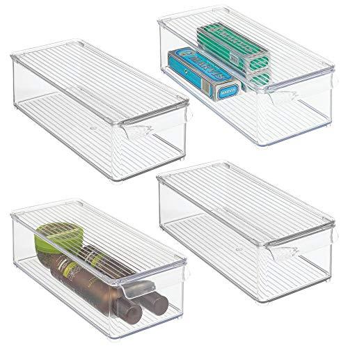 mDesign Juego de 4 Cajas apilables con Tapa – Caja de almacenaje con asa para ordenar Productos de baño – Organizador para baño, Ideal para Toallas o cosméticos – Transparente
