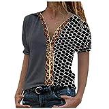 Kurzarm Shirt V-Ausschnitt Oberteile Reißverschluss Farbblock Damen Elegant Bluse Mode Gedruckt Langarmshirts Revers T-Shirt Casual Hemd Tops (A-Grau, XXL)