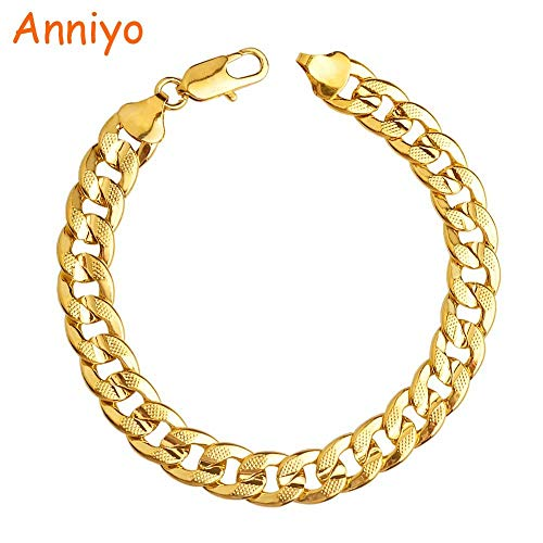 NCDFH Men Thick Bracelets Gold Color Africa Chain Link Bracelet Jewelry Gifts Mens 21cm