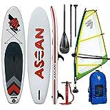 Ascan WindSUP Board 10.6 - Tabla de windsurf hinchable con aleta y rep Set de remo completo para windsurf, color amarillo y verde, 4,5qm