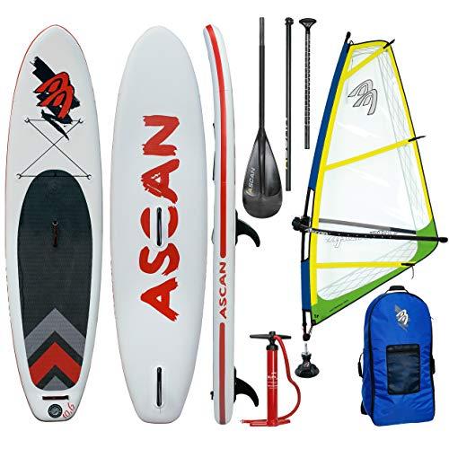 Ascan Wind SUP Board 10.6 Windsurf SUP mit Finne + Reparatur Set + komplett Windsurf Rigg Set gelb/grün (4,5qm)