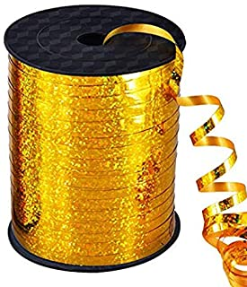 500 Yards Gold Crimped Curling Ribbon Shiny Metallic Balloon String Roll Gift Wrapping Ribbon for Party Festival Art Craft...