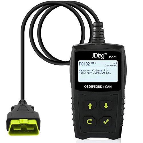 jdiag OBD2 Auto diagnóstico OBD II Escáner de códigos para todos los coches a partir de 2000 con protocolos y con standardem de 16 pin OBD II interfaz,lectura y borrado de códigos de error
