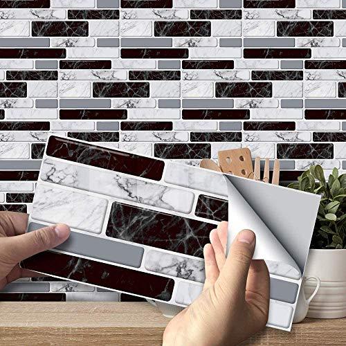 BESTINE Pegatinas De Azulejos, Paneles Impermeables Autoadhesivos Calcomanías De Papel De Pared Azulejos Rectangulares De PVC para Decoración Del Hogar (54 Piezas)