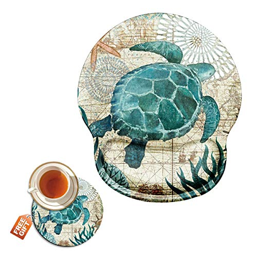 Mouse Pad with Wrist Support Gel Ergonomic Gaming Mousepad with Wrist Rest for Laptop Baby Sea Turtle Computer Home Office Working Mouse Mat + A Cute Coffee Pad