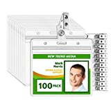 EcoEarth Horizontal PVC Badge Holder with Metal Clips and Vinyl Straps (Sealable Fits 3' x 4' Inserts) (Clear 100-Pack), Waterproof ID Holder Bulk, ID Card Holder, Name Badge Holder, Name Tag Holder
