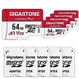 Gigastone Micro SD Card 64GB マイクロSDカード フルHD 5Pack 5個セット 5 SDアダプタ付 5 ミニ収納ケース付 w/adaptor and case SDXC U1 C10 90MB/S 高速 micro sd カード Class 10 UHS-I Full HD 動画