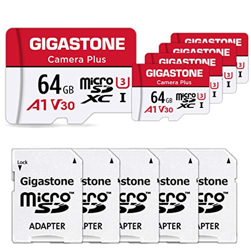 Gigastone 64GB 5-Pack Micro SD Card, Camera Plus, Nintendo-Switch Compatible, High Speed 95MB/s, 4K Video Recording, Micro SDXC UHS-I A1 Class 10