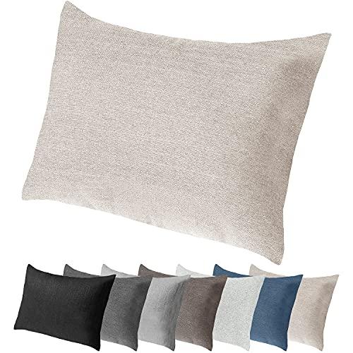Selfitex Extra großes Sofakissen mit edlem Bezug und Füllung, Lounge- und Rückenkissen, Kopfkissen, Dekokissen, ideal beim Lesen, Schlafen, TV-Schauen (Beige, 60 x 80 cm)