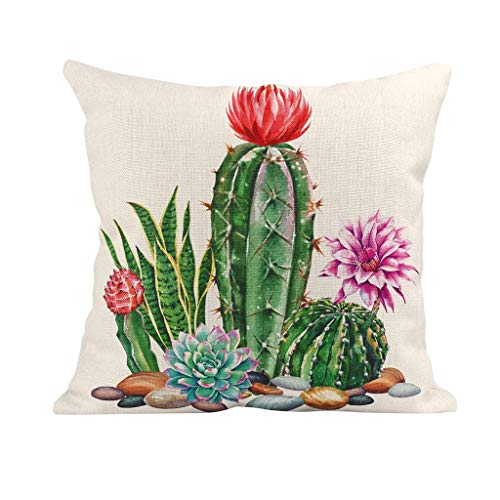 Watopi Cushion Cover Summer Cactus Succulent Plants Cushion Protector Tropical Pillow Covers Watercolor Flower Cushion Cover