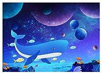 ブルーオーシャン クジラ アート 写真背景 7x5フィート Undersea World ベビー クジラ パーティー バナー 写真 スタジオ 小道具 SSA007