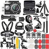Neewer Kit de Caméra d'action G1 Ultra HD 4K 12 MP, Caméra Etanche sous-Marine à 30m 170 Degrés à Grand Angle WiFi Sports Caméra Capteur High-Tech avec 50-en-1 Kit d'Accessoires de Caméra d'action