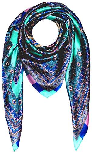 LORENZO CANA Luxus Damen Seidentuch aufwändig bedrucktes Tuch 100% Seide harmonische Farben Damentuch Schaltuch 89008, Türkis, 100 x 100 cm