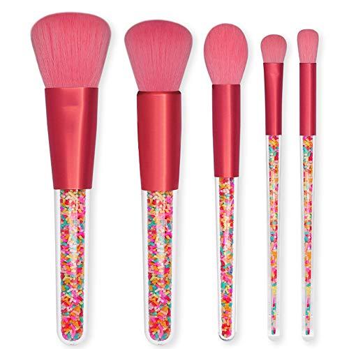 ZYU 5 Pcs Profession Pinceau De Maquillage, Granulés en Plastique Coloré Transparent PoignéE Multifonction Beauté CosméTique Visage Brosse Ensemble