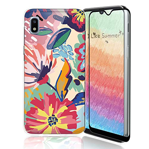 """TJS Phone Case Compatible with Samsung Galaxy A10E 5.8"""" (Not Fit Galaxy A10/M10), with [Full Coverage Tempered Glass Screen Protector] TPU Matte Color Design Transparent Clear Soft Skin (Bloom)"""