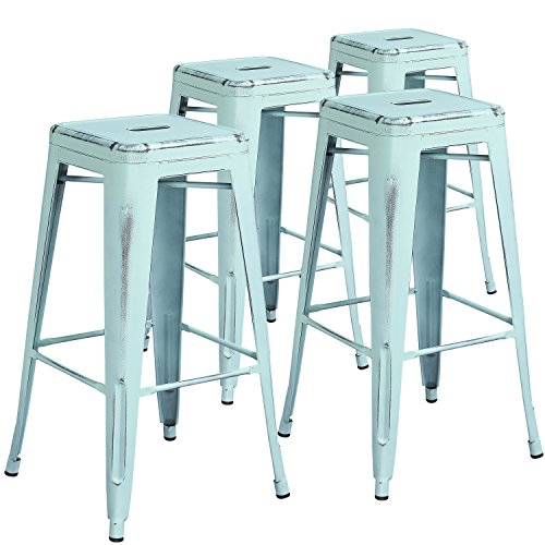 Flash Furniture Commercial Grade 4 Pack 30″ High Backless Distressed Green-Blue Metal Indoor-Outdoor Barstool