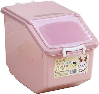 حاوية تخزين طعام موزعة للأرز بسعة 10 كجم مع أغطية للأطعمة الجافة والدقيق وطعام الكلاب (لون عشوائي) من بيستنزون