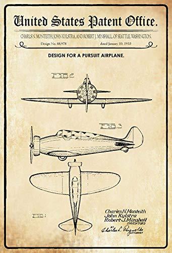 NWFS FS Patent Ontwerp propeller - Vliegtuig metalen bord bord Metal Tin Sign gewelfd gelakt 20 x 30 cm metalen bord bord Metal Tin Sign gebogen gelakt 20 x 30 cm