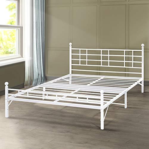 Best Price Mattress Model H Easy Set-Up Steel Platform Bed/Steel Bed Frame, Twin XL, White