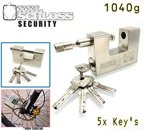 KaSul® | XXL- Monoblock 1040g schwer 94mm | 5 Schlüssel TOP SICHERHEIT Schloss Vorhangschloss