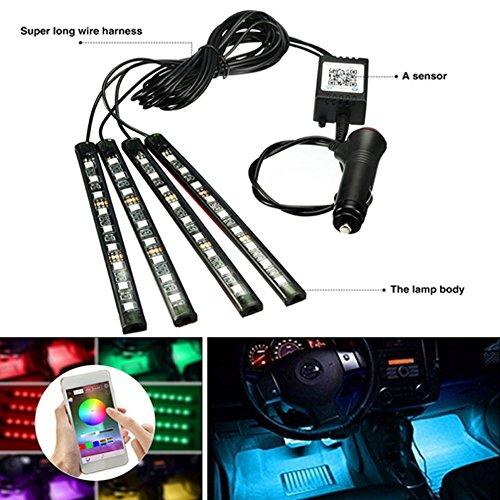 ZREAL 1895/5000 12 V Voiture RGB LED DRL 4 pièces Strip Light Car Voiture Décoratifs Flexible LED Strips atmosphère Lampe Kit lumière