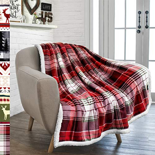 PAVILIA Christmas Plaid Blanket | Sherpa Fleece Flannel Throw Blanket | Christmas Plaid Warm Plush Microfiber Blanket for Couch Sofa | 50x60 Inches