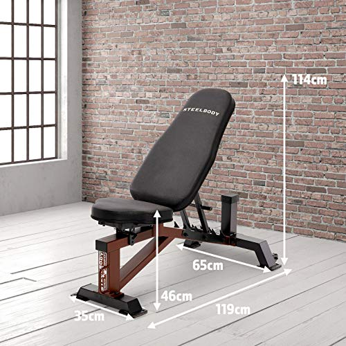 Steelbody Deluxe 6 Position Utility Weight Bench for Weightlifting and Strength Training STB-10105, Black-Brown