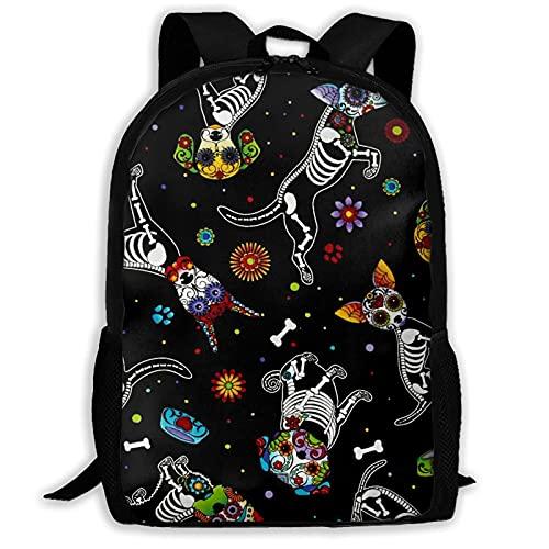 Bingyingne Day Of Dead Pups Zaino nero, borsa per libri resistente e carina con tasche spaziose, zainetto per college con stampa divertente Zaino da viaggio unico regalo
