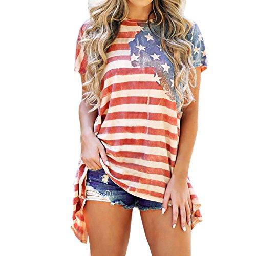 Petalum Damen Sommer T-Shirt Amerikanisch Flagge Kurze Ärmel Shirt Top Casual Rundhalsschnitt Oversize Oberteil Unregelmäßig Tunika Oberteile für Party Karneval