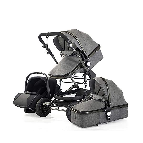 HHRen Baby Stroller High Landscape Multi-Function Can Sit And Lie Two-Way Four-Wheel Shock Absorber Folding Newborn Child Stroller Baby Ab,Gray HHRen ✔ Triple shock absorber: front wheel built-in spring shock absorber, wear-resistant EVA rear wheel, independent frame shock absorber, good shock absorption effect, good grip, strong shock absorber at the root of the frame, durable And good flexibility ✔ Switch as you like, multi-function and convenient, diverse shapes, can meet the different needs of babies, suitable for children from 0 to 36 months, more convenient to fold, it only takes one second to fold ✔Exquisite design: The sleeping basket with shockproof hooks effectively prevents the sleeping basket from shaking; the universal front wheels are flexible and light; the blue detachable armrest has large storage space, making it more convenient to store; one-stop brake 1