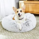 Toozey Calming Dog Bed for Small Dogs, Donut Dog Bed with Premium Fluffy Plush, Anti Anxiety Dog Bed with Removable Inner Cushion, Easy to Clean, Non-Slip Waterproof Bottom, Size S (23x23)