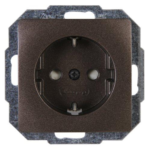 Kopp Paris 6x 1-fach für den Haushalt, 250V (16A), IP20, Schutzkontakt-Steckdose mit erhöhtem Berührungsschutz, Unterputz, einfache Wandmontage, palisander-braun, 920626085, 1 Stück