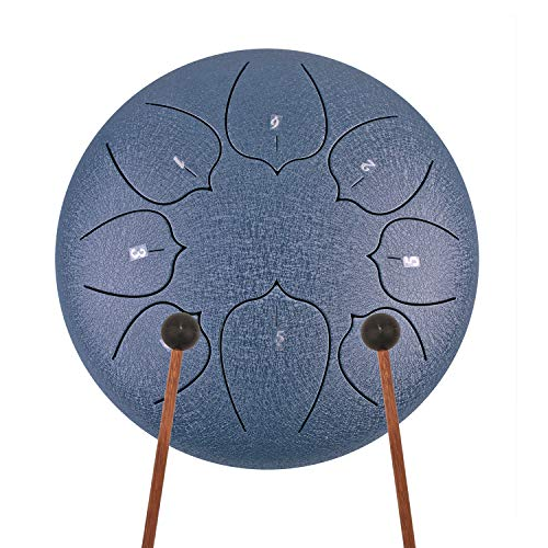 REGIS Tongue Drum 8 Notes 10 Inches Chakra Tank Drum Steel Percussion Hang Drum Instrument with Padded Travel Bag and Mallets Blue