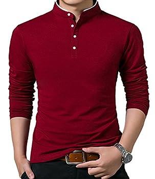 KUYIGO Men's Casual Slim Fit Shirts Long Sleeve Polo Shirts Cotton Shirts Wine Red Medium