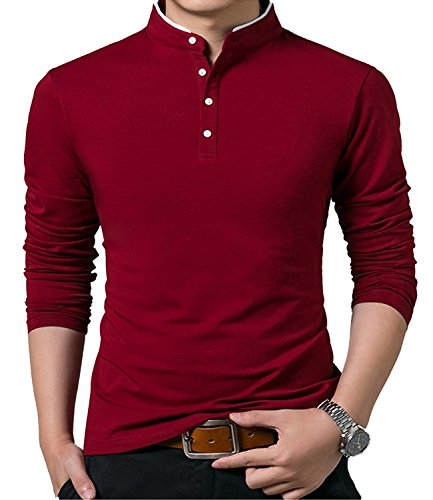 YTD Mens Summer Slim Fit Pure Color Short Sleeve Polo Casual T-Shirts (US Medium, Long Sleeve Wine Red)