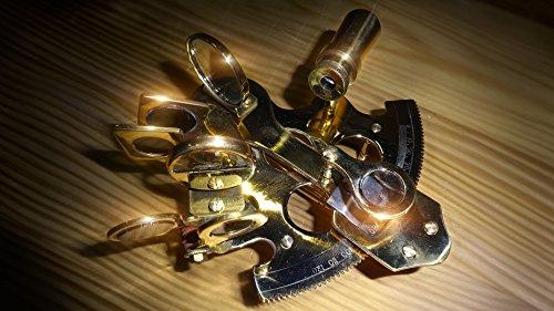 Dekorativer Sextant, voll funktionstüchtig, handgefertigt aus Messing und Echtglas - Antik und...