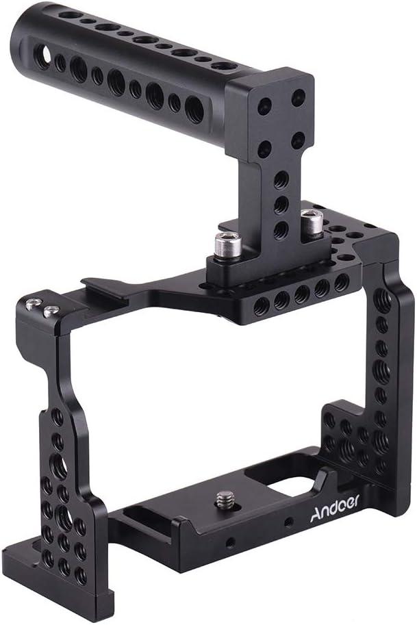 Andoer Jaula de Cámara+Manija Superior +Kit de Placa Base de Varilla de 15 mm Video Film Película Estabilizador Aleación de Aluminio para Cámara Sony