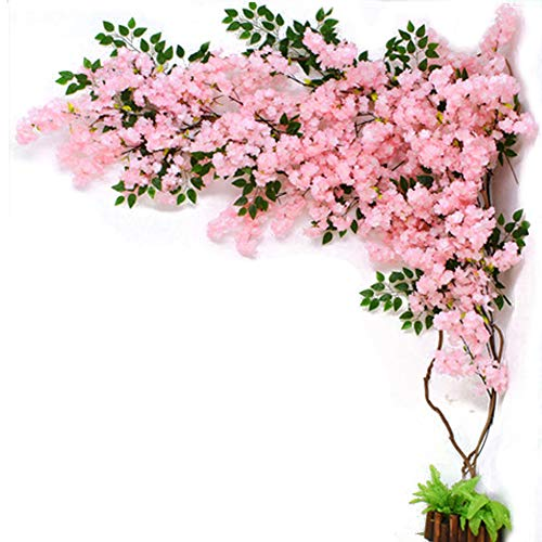 LUSHUN 30 pcs Artificial Cherry Blossom Garland, Hanging Vine Silk Garland Comes with 3 rattans and 1 Installation Material Package for Home Garden Wedding Party Decor,B