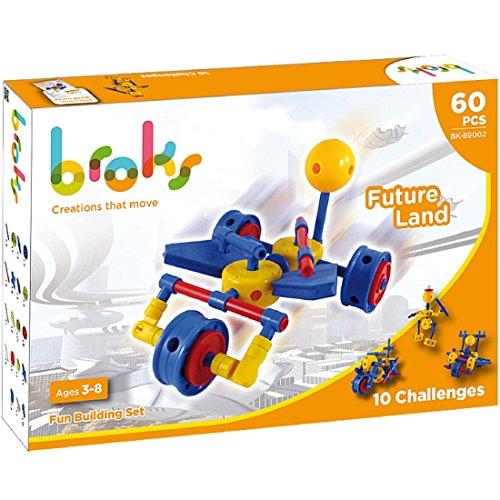 Broks - Future Land: Juego de construcción con 60 Piezas encajables para niños y niñas de 3 a 8 años - Robots y Naves