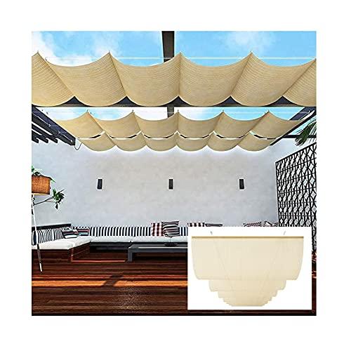 Pabellón 2021 Vela Romana Sombra Toldo Vela Telescópico De Techo Ondulado Cortina De Vela Corredera Con Kit De Montaje, Utilizado Para Cubierta De Pérgola, Toldo ( Color : Beige , Size : 1.2x3m )